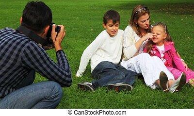 photographies, fille, père, parc, fils, champ, mère, assied