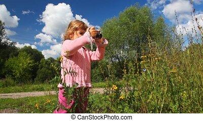 photographies, peu, fleur, extérieur, girl