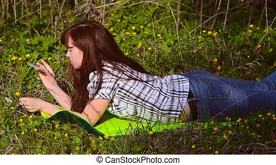 photographies, téléphone, girl, fleur, ton