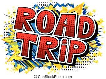 phrase., -, vecteur, comique, route, style, illustré, voyage, livre