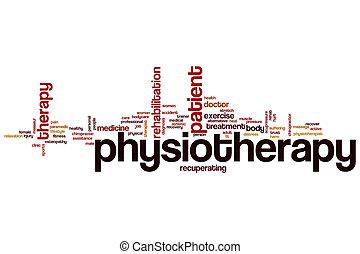 physiothérapie, mot, nuage