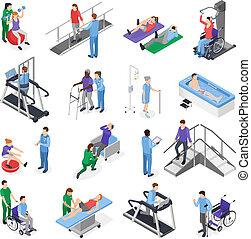 physiothérapie, rééducation, isométrique, ensemble