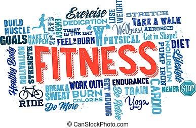 physique, mot, nuage, fitness