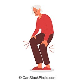 physique, vecteur, knee., illustration, femme, blessure, vieux