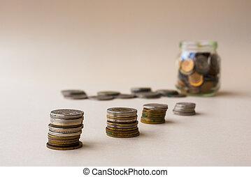 pièces, économie, concept, argent, crisis., pile.