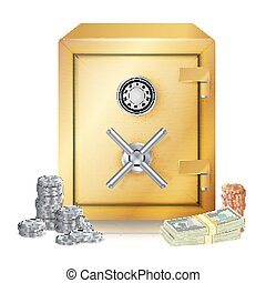 pièces., argent, sûr, métal, isolé, illustration, vecteur, vector., piles