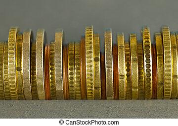 pièces, arrangé, côté, euro