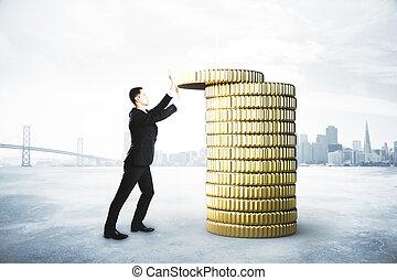 pièces, concept, économie, or, argent, homme affaires, collects, pile