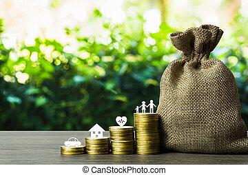 pièces, concept., richesse, concepts., avenir, économies, économie, voiture, depicts, sac, life., pile, table., collecte fonds, argent, membre famille, bois, sain, maison