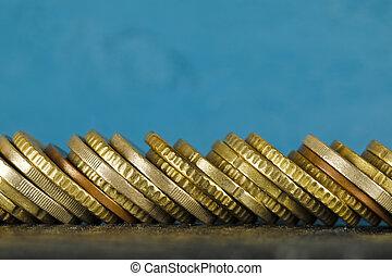 pièces, empilé, côté, euro