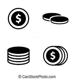 pièces, ensemble, icônes