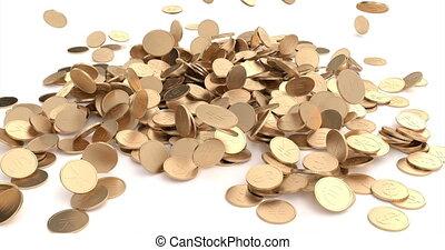 pièces, gagner, concept., grand, fortune, trésor, économie, automne, conception, bannière, jackpot., symbole., arrière-plan., casino, element., espèces, or, finance, signe., 3d