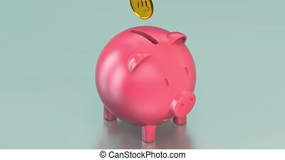 pièces, mignon, banque, porcin, dollar, tomber, intérieur