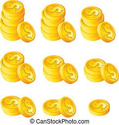 pièces, pile, or
