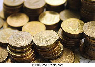pièces, piles, or