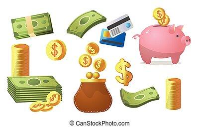 pièces, plat, vecteur, papier, ensemble, stockage, methods., illustration, argent, différent, dessin animé, style., or