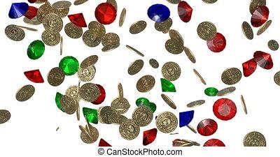 pièces., render, or, vendange, pluie, 3d
