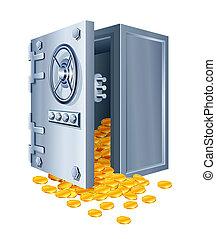 pièces, sûr, ouvert, or