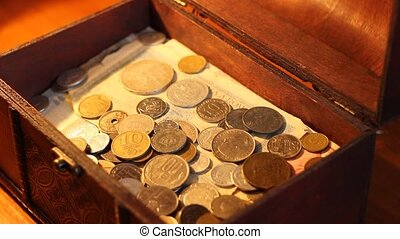 pièces, trésor, vieux