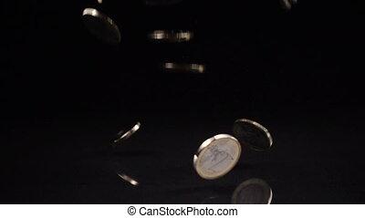 pièces, une, arrière-plan noir, automne, euro