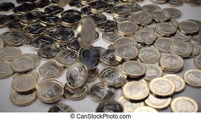 pièces, une, fond, automne, blanc, euro