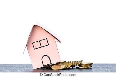 pièces, vrai, concept, financier, renverser, propriété, maison, image, chutes, tas, fond, blanc, bulle, modèle, crise
