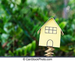 pièces, vrai, concept, financier, renverser, propriété, nature, maison, image, chutes, tas, fond, modèle, bulle, crise