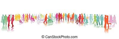 piétons, grand, familles, groupe, sidewalk.eps