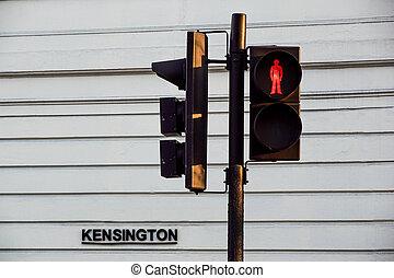 piétons, kensington, lumière, trafic, rouges, londres, route