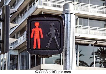 piétons, rue, trafic, feu rouge