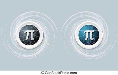 pi, symbole, ensemble, deux, icône