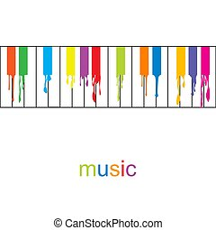 piano, coloré, résumé, poster., musique, clés, écoulement