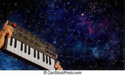 piano, fond, mains, tenue, clavier, nuit, musique, ciel