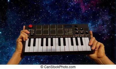 piano, fond, mains, tenue, nuit, clavier, musique, ciel