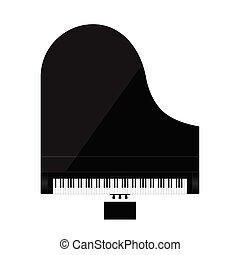 piano, illustration, couleur, noir