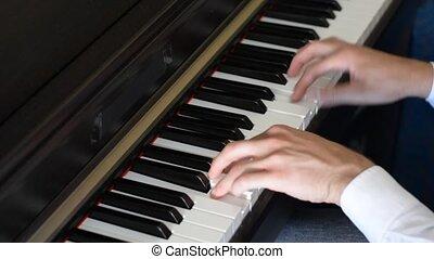 piano, intérieur, mâle, jouer, mains