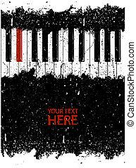 piano, sale, clã©, rouges