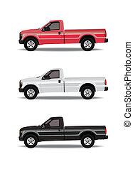 pick-up, couleurs, trois, camions