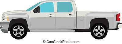pick-up, isolé, illustration, vecteur, camion, blanc