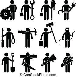 pictog, métier, ouvrier construction, icône