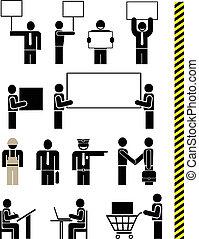 pictogramme, gens, vecteur, -