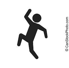 pictogramme, graphique, sauter, personne, vecteur, action, icon., design.