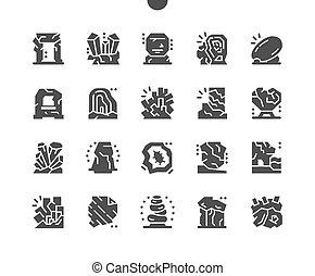 pictogramme, solide, radston, simple, vecteur, luxury., stones., cristaux, monolith., pierres, minerals., mystique, naturel, icons.