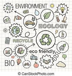 pictograms, dessiner, trappe, planète verte, ambiant, griffonnage, voiture, énergie, écologie, eco, vecteur, croquis, recycler, connecté, infographic, set., illustration, main, bio, icons., amical, concepts., intégré