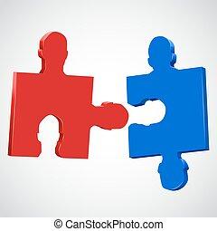 pieces., puzzle, tête, coloré, humain