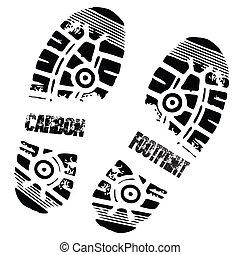 pied, carbone, impression, chaussure