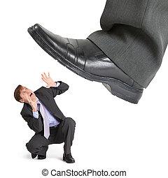 pied, grand, entrepreneur, petit, cohues, crise