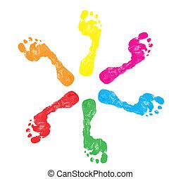 pied imprime, coloré