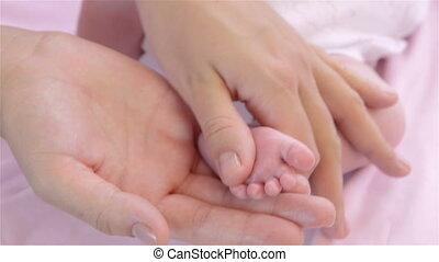 pied, nouveau né, masage, bébé