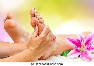 pied, spa, thérapeute, masage